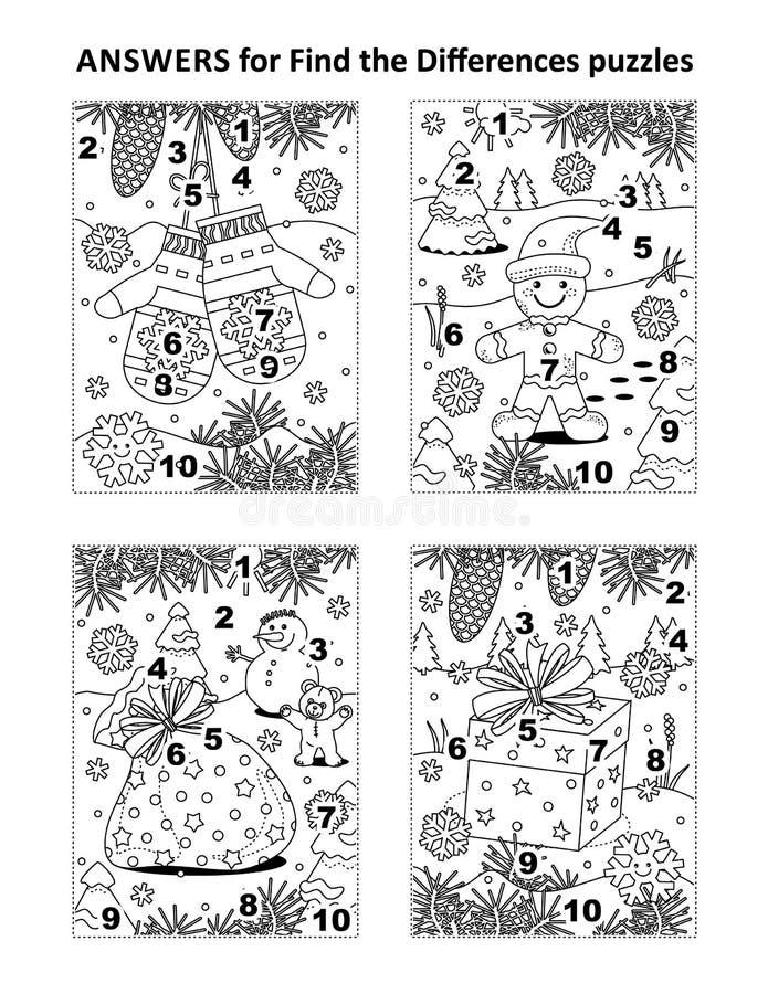 Respuestas para los rompecabezas visuales anteriores stock de ilustración