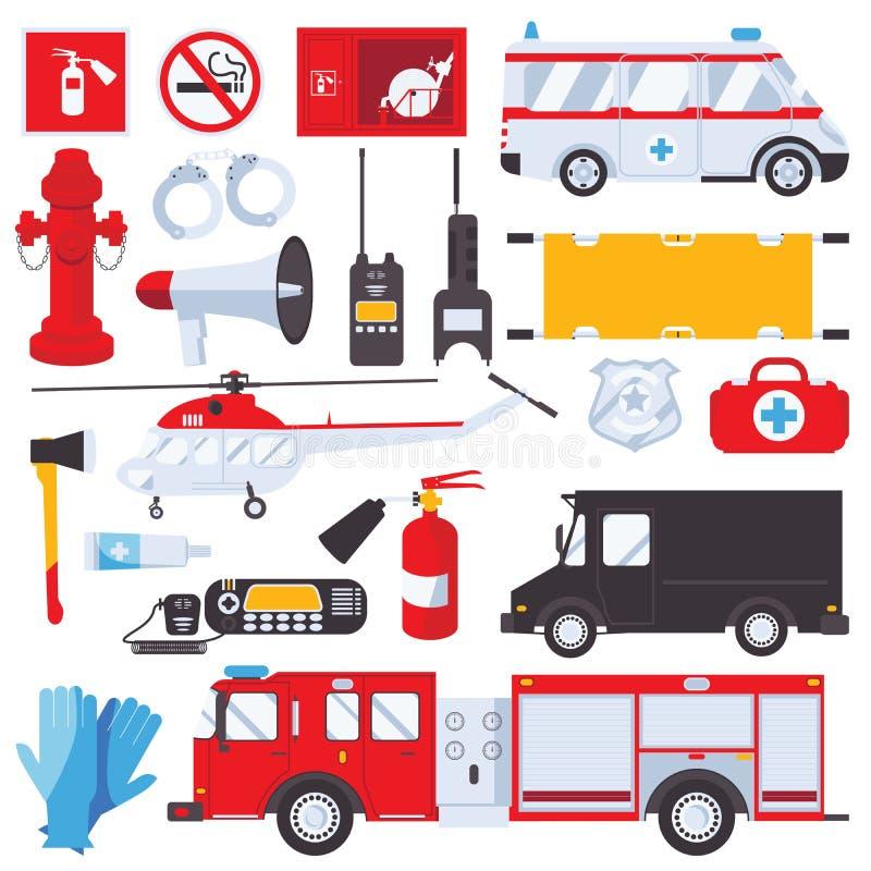 Resque mantiene el concepto para la ambulancia, el golpe violento, el coche del primeros auxilios y de bomberos aislados en el fo stock de ilustración