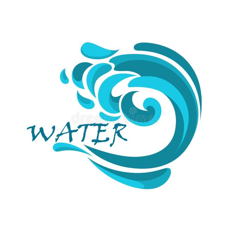 Ressac bleu avec des remous de l'eau illustration de vecteur