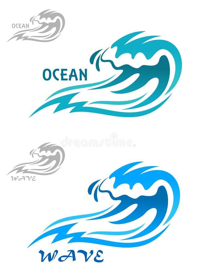 Ressac bleu de bordage Cresting illustration de vecteur