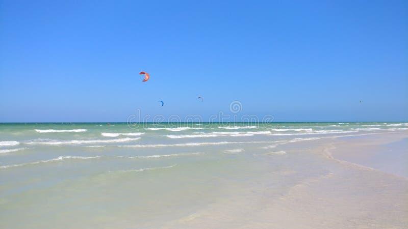 Ressac de cerf-volant et la plage en EL Cuyo, Mexique image stock