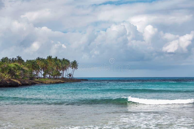 Ressac de mer en République Dominicaine  Mer, rivage avec des palmiers et ciel avec des nuages de tempête photos stock