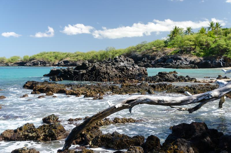 Ressac ? la plage de Waialea image libre de droits