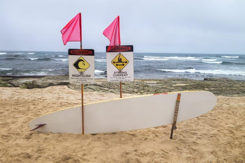 Ressaca alta litoral dos sinais de perigo, placa curent de Rescuse do storng, pino imagem de stock