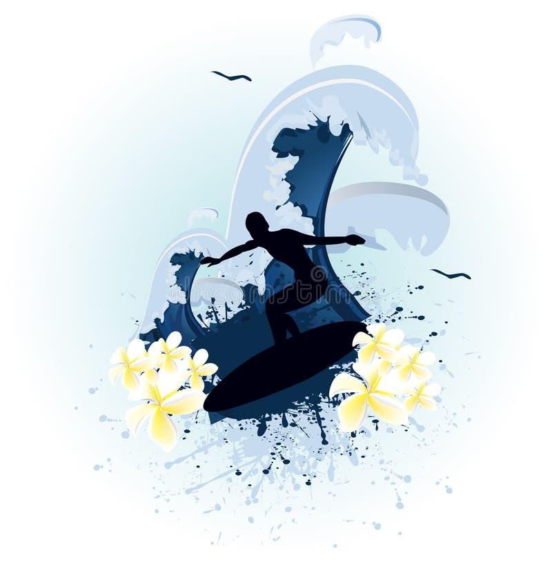 Ressaca azul do grunge ilustração stock