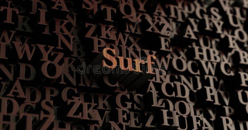 Ressaca - 3D de madeira rendeu letras/mensagem ilustração do vetor