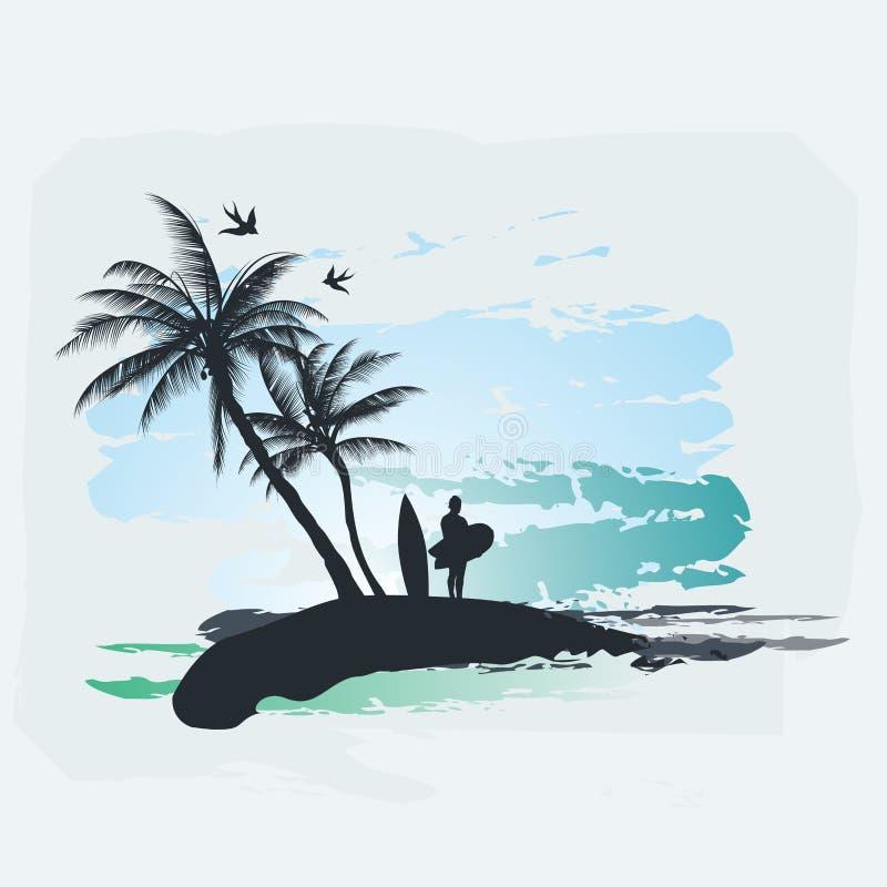 Ressaca da palmeira ilustração do vetor
