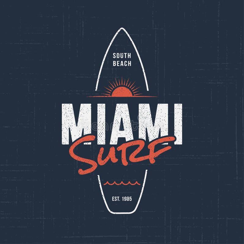 Ressaca de Miami Florida Projeto do t-shirt e do fato ilustração do vetor