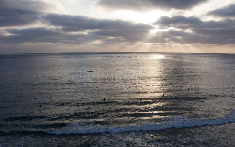 Ressaca do crepúsculo, Del Mar, CA foto de stock royalty free