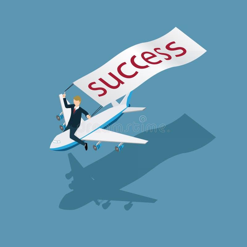 Ressaca do homem de negócio com um plano ao conceito isométrico do sucesso ilustração stock
