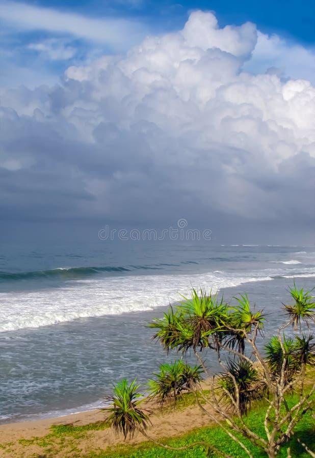 Ressaca do oceano na costa tropical fotografia de stock