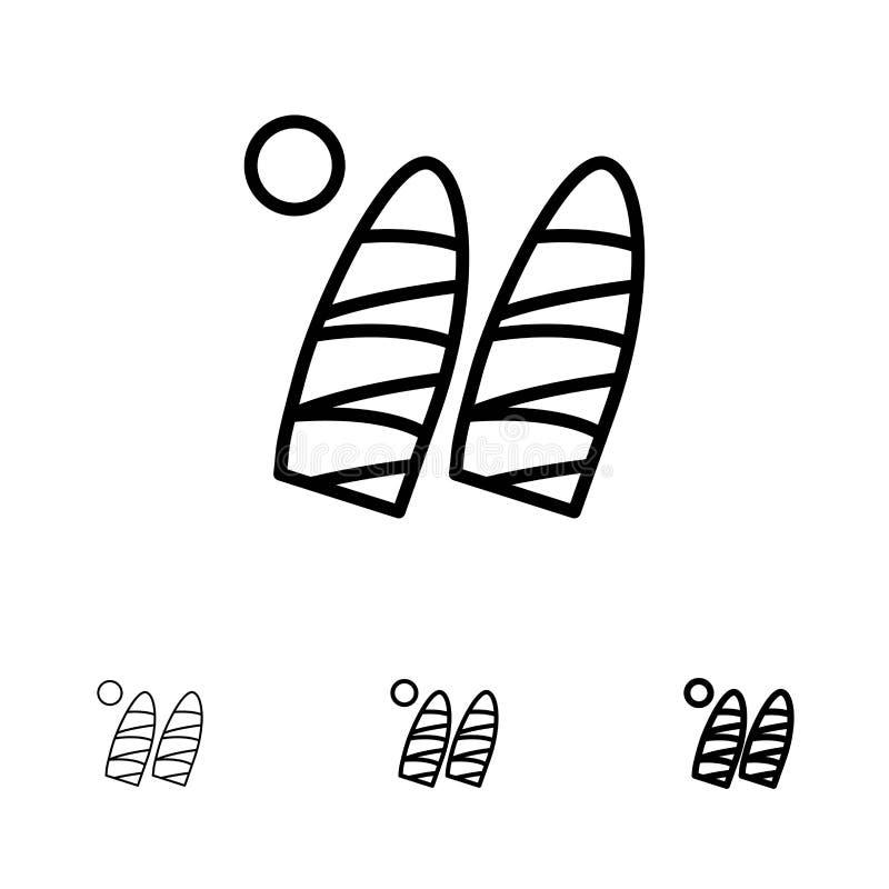 Ressaca, surfar, água, esportes corajosos e linha preta fina grupo do ícone ilustração stock