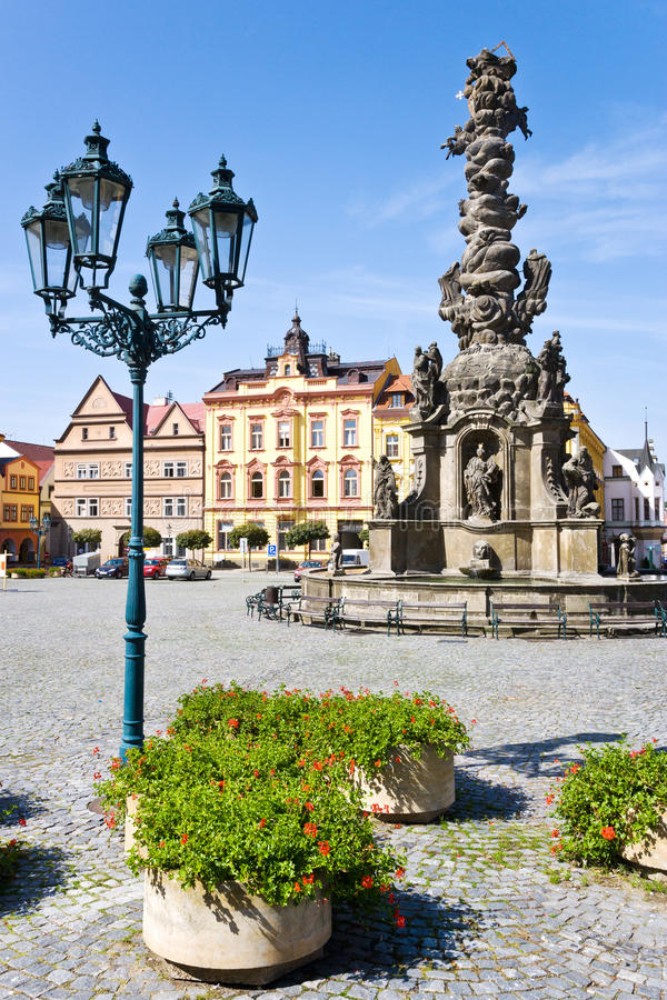 Ressel square, Chrudim, Czech republic, Europe. Ressel square, plague column, Chrudim, Czech republic, Europe royalty free stock photography