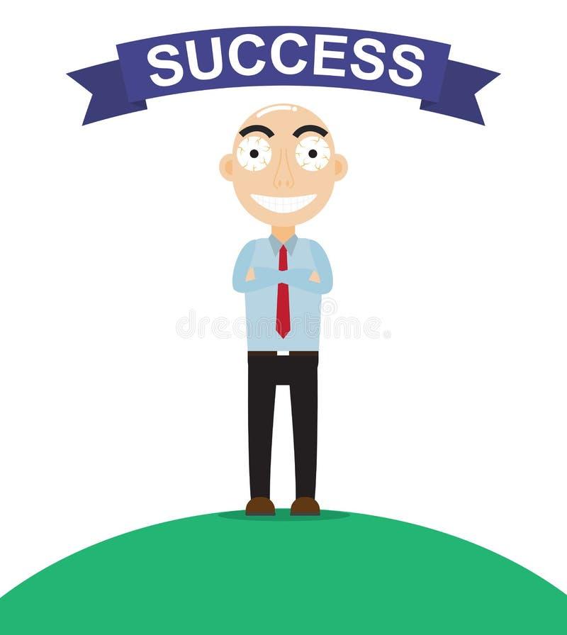 Ressembler heureux d'homme d'affaires si à fier au sujet du succès de travail illustration stock