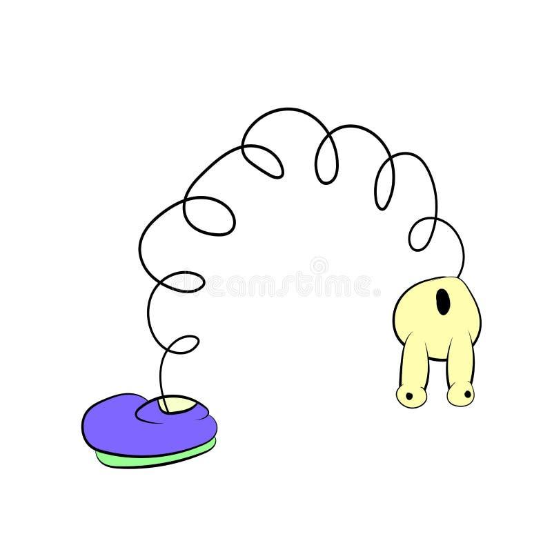 Ressort avec des yeux dans les courbures pourpres d'une chaussure, chiffre de bande dessinée illustration de vecteur