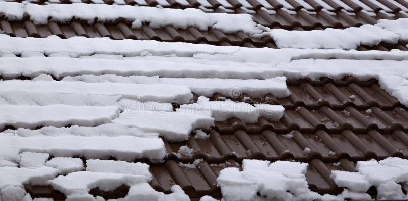 Ressort Dégel de la neige sur un toit de construction photos libres de droits