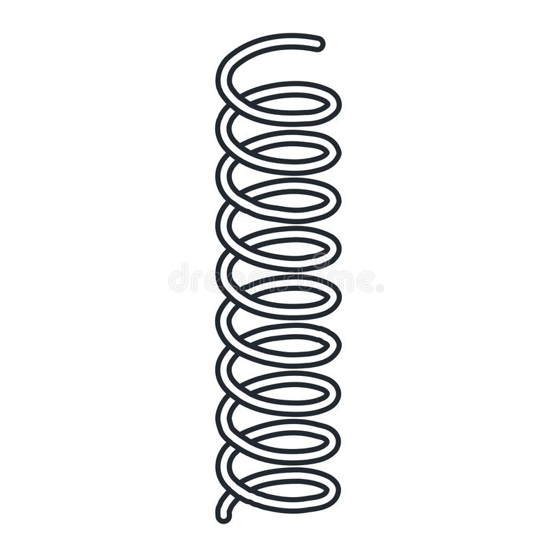 Ressort en acier en métal de ressort de ressort hélicoïdal sur le fond blanc illustration de vecteur