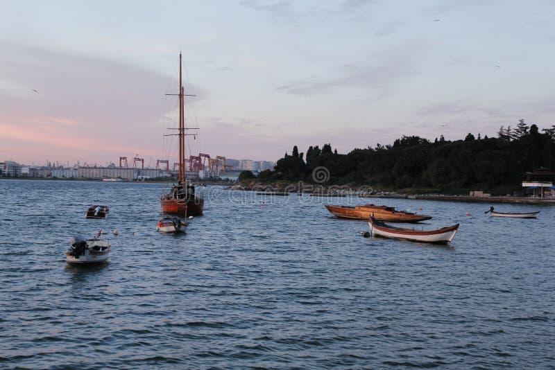 ressort, extérieur, week-end, port, bord de la mer, bateaux photo stock