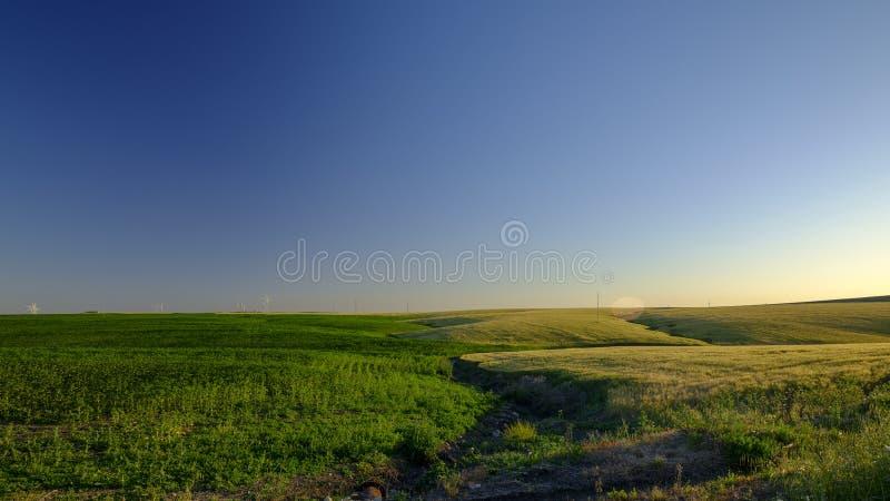 Ressort ?galisant la lumi?re et le coucher du soleil sur le paysage pr?s d'Arroyo del Olivillo entre Sanlucar et Jerez de la Fron photo stock