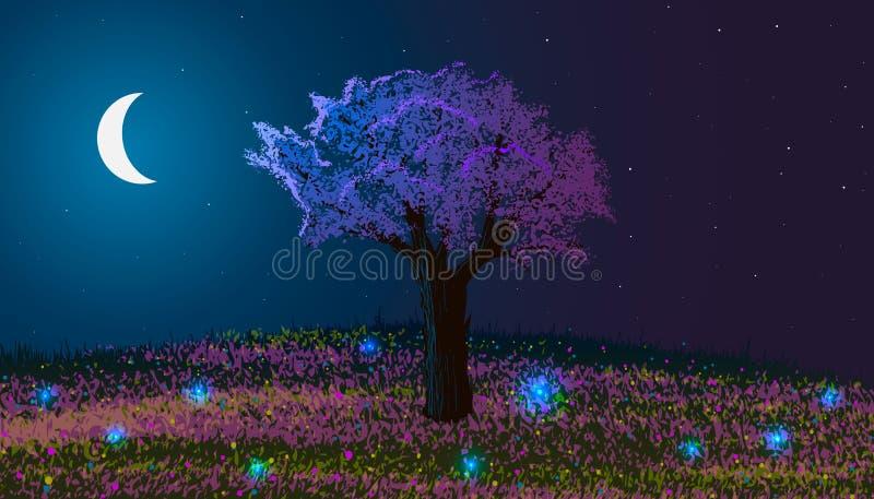 Ressort Horizontal de nuit Arbre de floraison sur une colline avec des fleurs et des vers luisants illustration libre de droits