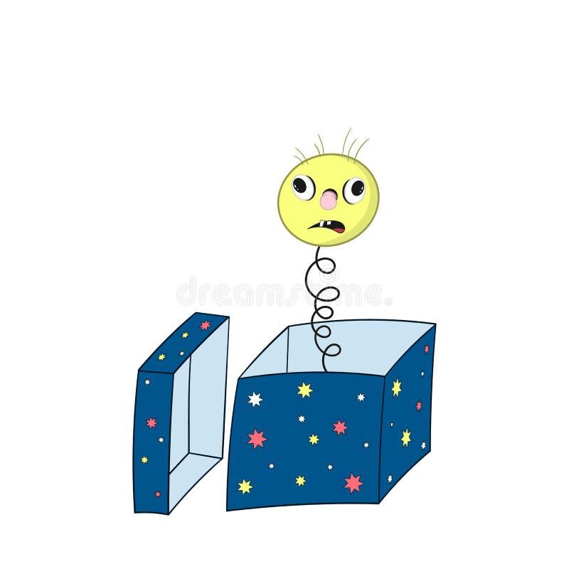 Ressort jaune drôle de bande dessinée - avec la tête, les yeux, les cheveux et la bouche regarde hors du boîte-cadeau et montre u illustration de vecteur