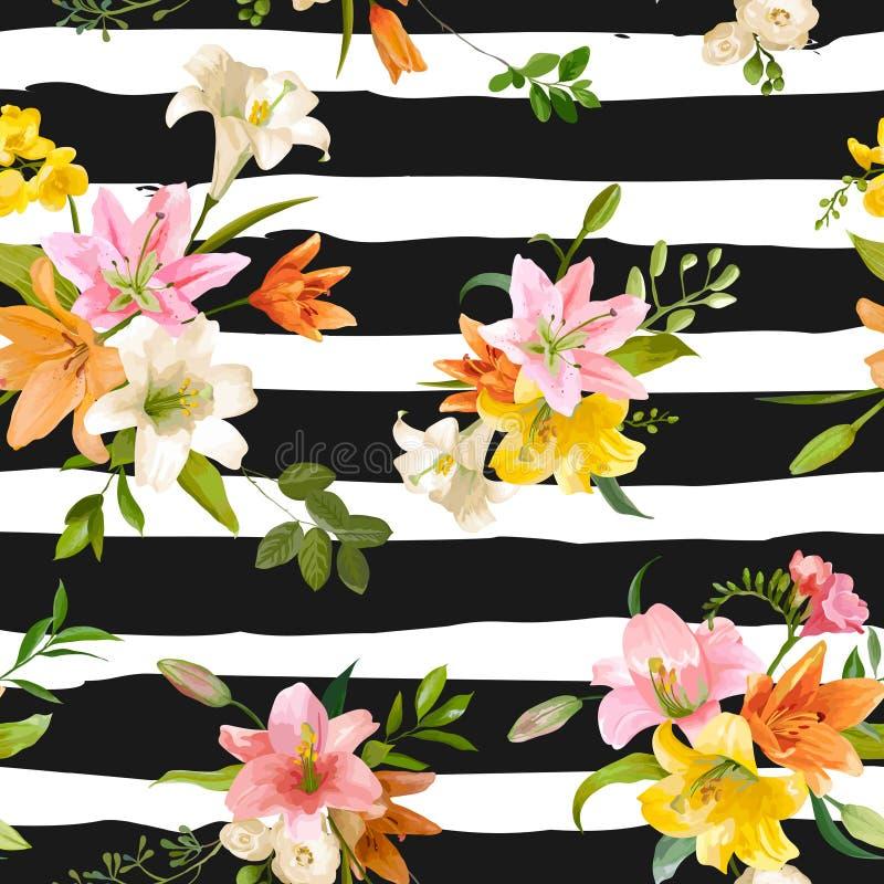 Ressort Lily Flowers Background - modèle floral sans couture illustration de vecteur