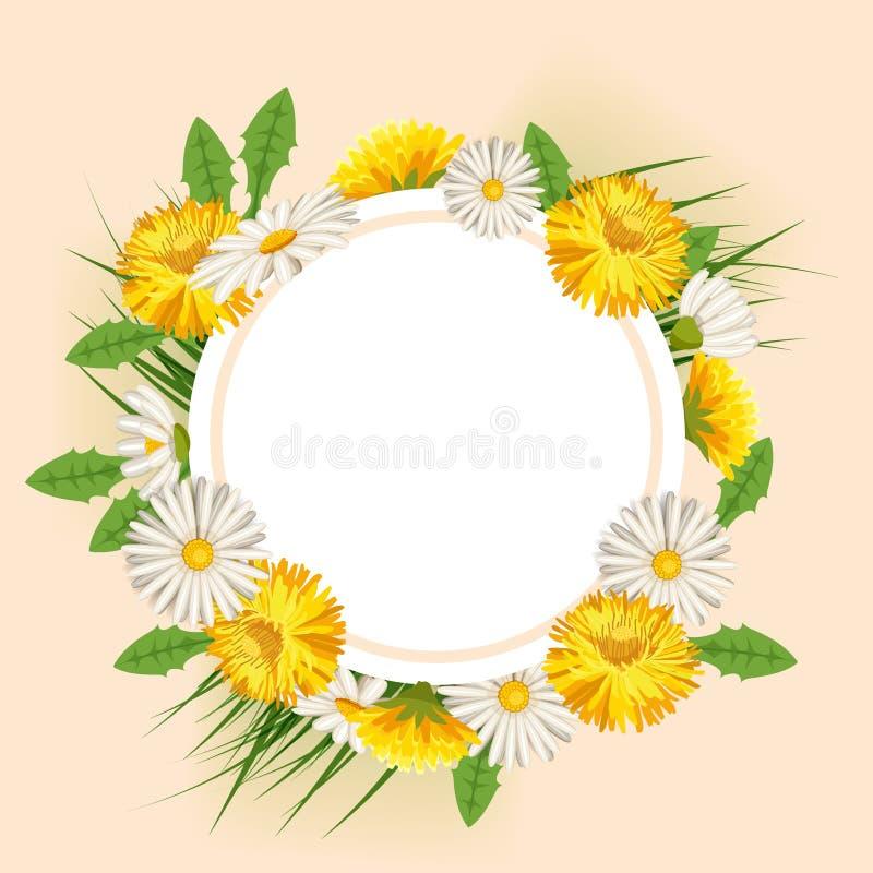 Ressort, marguerites et pissenlits frais, herbe illustration de vecteur