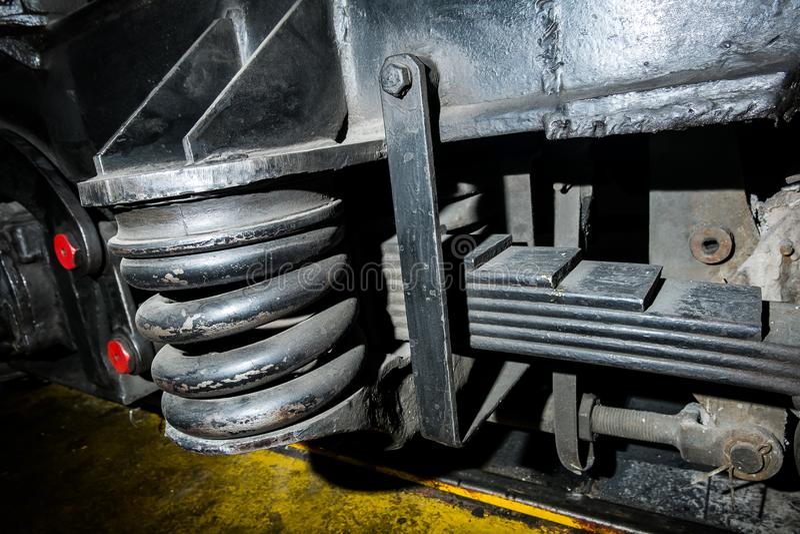 ressorts, amortisseurs locomotifs images stock