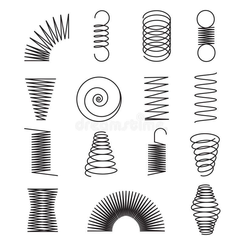 Ressorts en métal Les lignes en spirale, formes de bobine ont isolé des symboles de vecteur illustration de vecteur