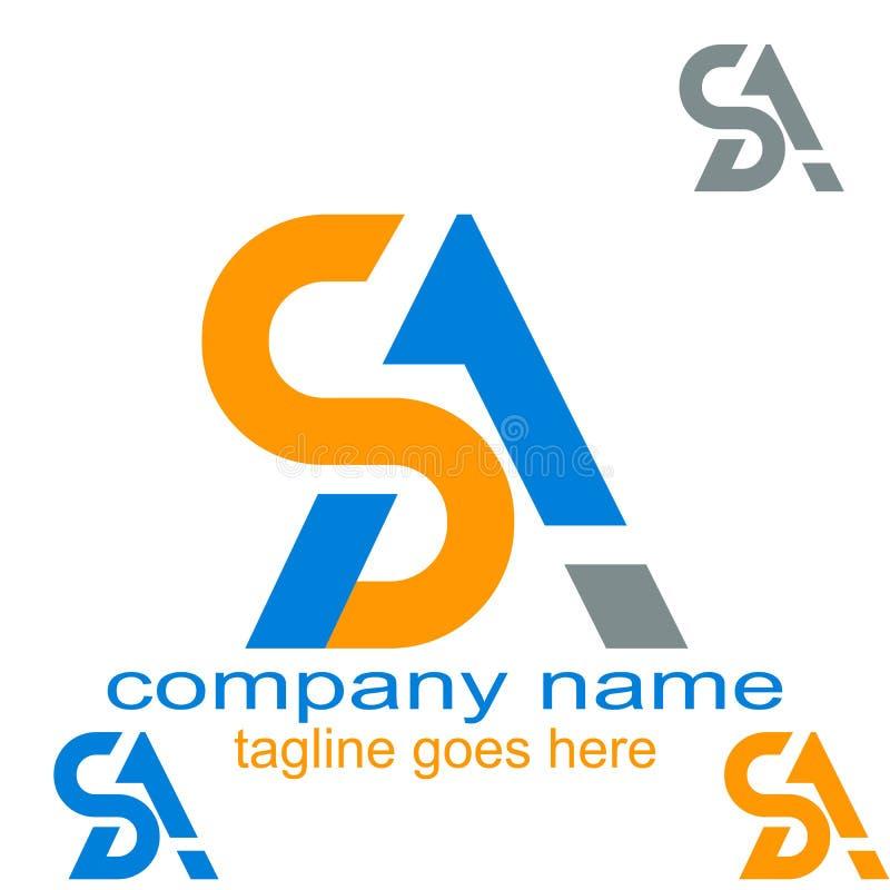 Ressource créative de graphique de logo de lettre SA de conception illustration de vecteur