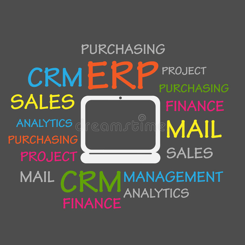 Ressource d'entreprise prévoyant le nuage d'ERP Word illustration stock