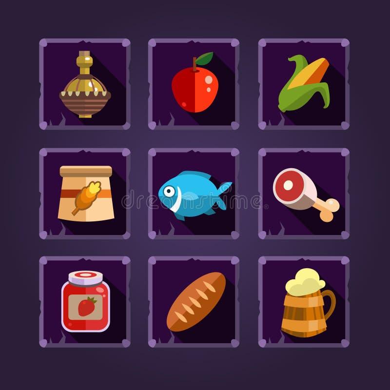 Ressourcen-Ikonen für Spiele Lebensmittel und Tränke lizenzfreie abbildung