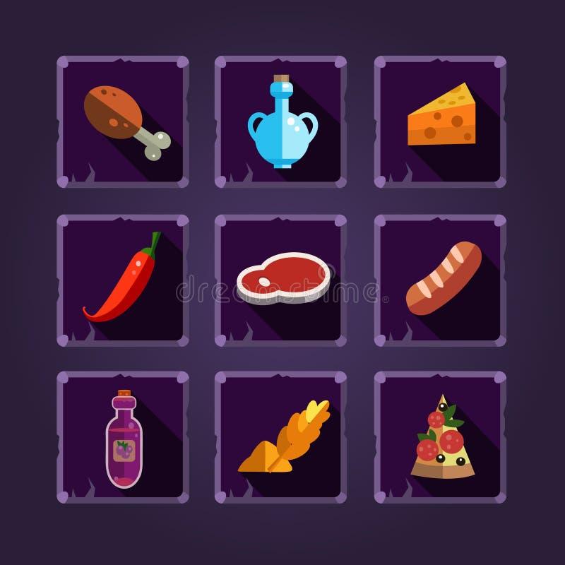 Ressourcen-Ikonen für Spiele Lebensmittel und Tränke vektor abbildung