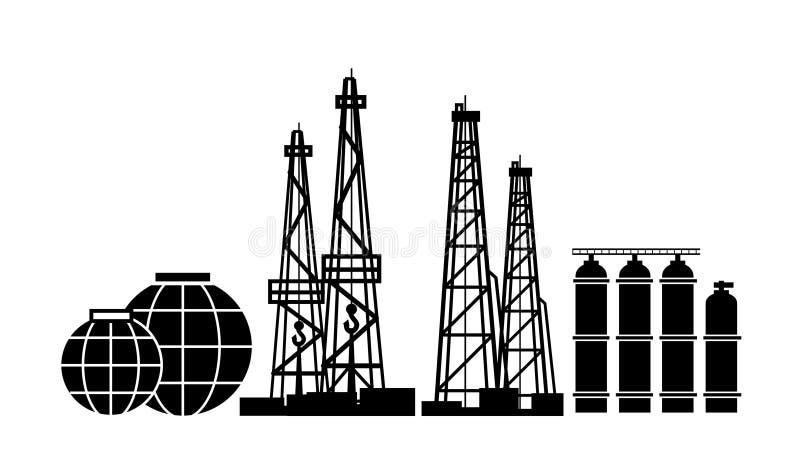 Ressources énergétiques : Installations de pétrole et de gaz, extraction, distillation fractionnaire, et cuves de stockage illustration libre de droits