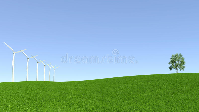 Ressources énergétiques, turbine de vent et environnement propre illustration stock