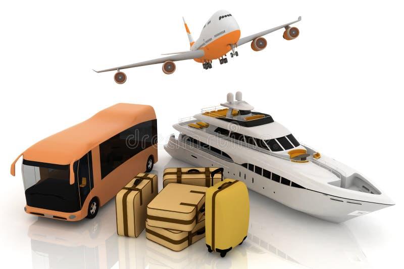 Ressources du trafic avec la valise illustration stock