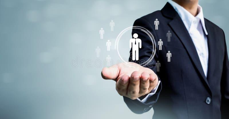 Ressources humaines, CRM et concept d'affaires de recrutement, spac de copie photographie stock