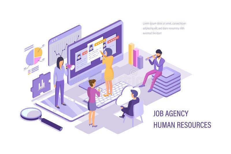 Ressources humaines d'agence du travail Personnel de fonctionnement de recherche, sélection, résumé d'étude illustration libre de droits