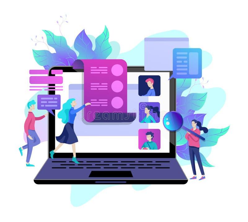 Ressources humaines de concept, bannière, présentation, milieu social, documents Recrutement pour la page Web illustration de vecteur