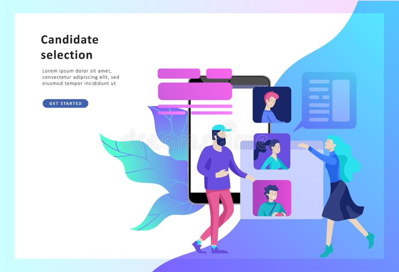 Ressources humaines de concept, bannière, présentation, milieu social, documents Recrutement pour la page Web illustration stock
