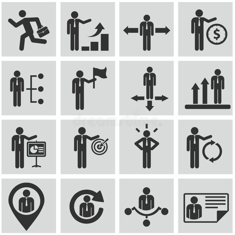 Ressources humaines et icônes de gestion réglées. photographie stock libre de droits