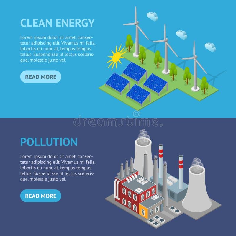 Ressources renouvelables et vue isométrique d'énergie de centrale d'ensemble horizontal traditionnel de bannière Vecteur illustration libre de droits