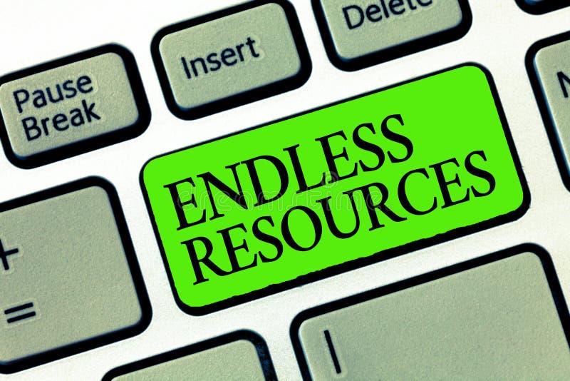 Ressources sans fin des textes d'écriture de Word Concept d'affaires pour l'approvisionnement illimité en actions ou aide financi photos stock