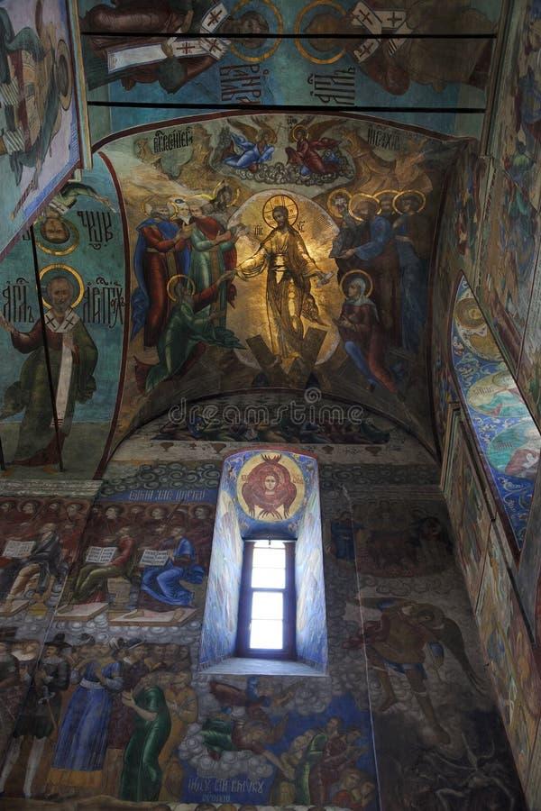 A ressurreição de Jesus Christ Frescoes da catedral de Dormition imagens de stock royalty free