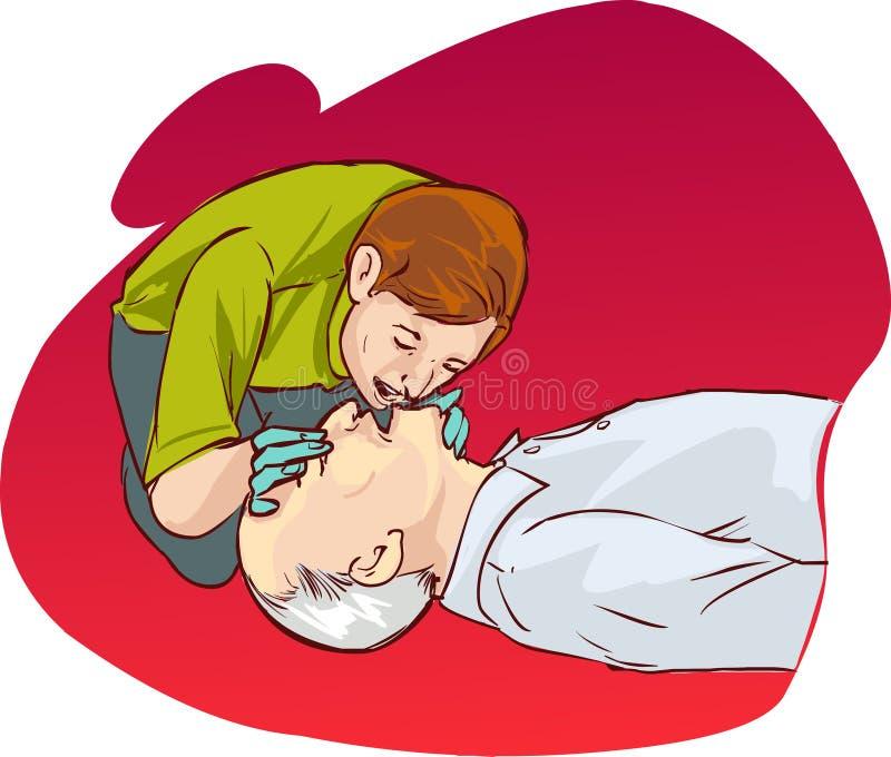 Ressuscitação cardiopulmonar ilustração do vetor