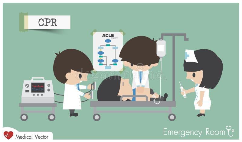 Ressuscitação cardiopulmonar do CPR nas urgências ilustração do vetor
