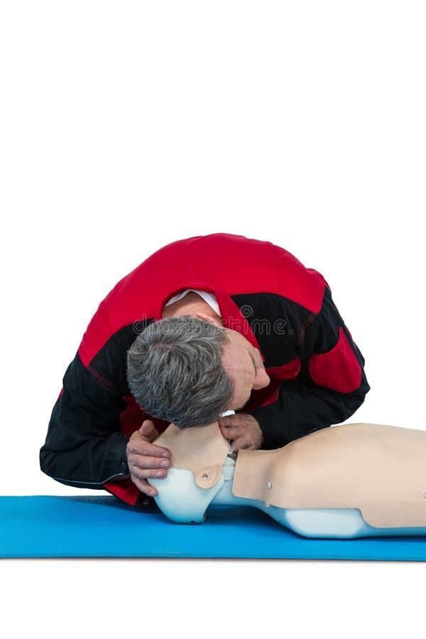 Ressuscitation de pratique d'infirmier sur le simulacre photos stock