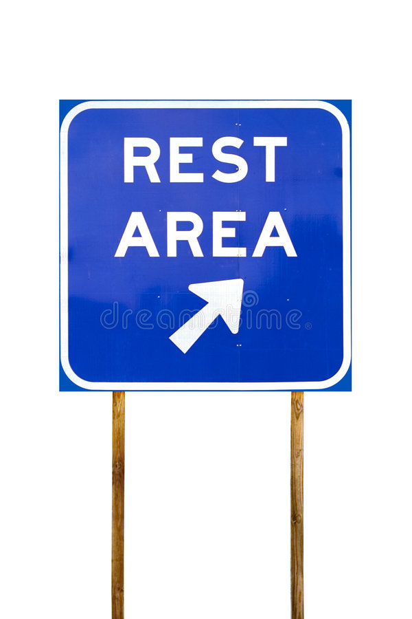 Rest Area. Sign with arrow royalty free stock photography