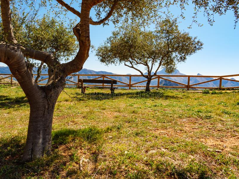 Rest area in mountains, Spain. Spanish mountains landscape with rest stop area, Costa Blanca holiday stock photography