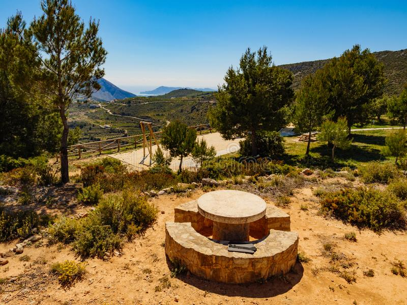 Rest area in mountains, Spain. Spanish mountains landscape with rest stop area, Costa Blanca holiday royalty free stock image